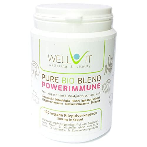 Pure Bio Powerimmune 120 Kapseln je 500 mg Heilpilze Komplex 7 aus Raupenpilz Reishi Igelstachelbart Mandelpilz Klapperschwamm Kiefernschwamm Shiitake aus EU-Bio-Landwirtschaft, vegan