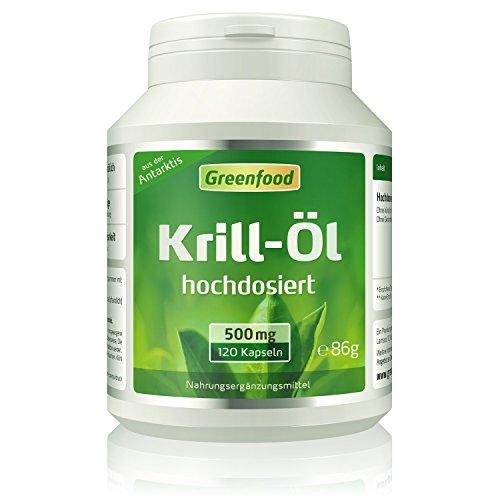 Greenfood Krill-Öl, 500 mg, 120 Kapseln, hochdosiert – reich an EPA und DHA, für ein starkes Herz und gute Augen. Fördert Gedächtnis und Konzentration. OHNE künstliche Zusätze. Ohne Gentechnik.