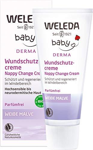 WELEDA Baby Derma Weiße Malve Wundschutzcreme, Naturkosmetik Babycreme für den Schutz und die Regeneration von gereizter Baby Haut, Heilsalbe für die Pflege des Windelbereich (1 x 50ml)