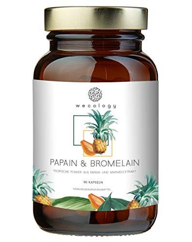WECOLOGY® Papain & Bromelain Kapseln Hochdosiert - 90 Stück - Nachhaltige Enzym Tabletten - Für ein gutes Bauchgefühl - Superfood Vegan mit Papaya und Ananas Pulver