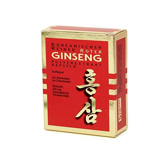 Koreanischer Reiner Roter Ginseng - 30 Pulver-Extrakt Kapseln (500 mg); traditionelles pflanzliches Arzneimittel   Panax Ginseng C. A. Meyer