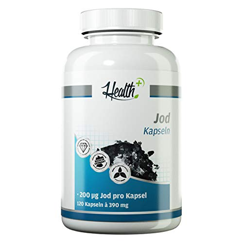 Health+ Jod Kapseln - 120 Jodid Kapseln mit 200 mcg Jod aus Kaliumiodid, essentielle Spurenelemente, Nahrungsergänzungsmittel zur täglichen Jod-Versorgung, Made in Germany