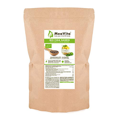 MeaVita Bio Chia Samen, (1 x 1000g) naturbelassen, glutenfrei ohne Gentechnik