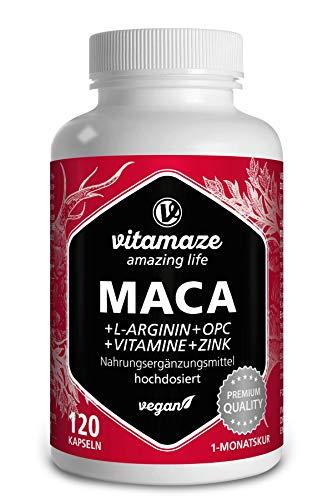 Maca Kapseln hochdosiert 5000mg + L-Arginin + VITAL Formel B6, B12, OPC, Zink, 120 vegane Kapseln für je 1 Monat, deutsche Premium-Qualität