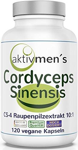 aktivmen´s Cordyceps sinensis hochdosiert + von Experten* geprüft - 120 Kapseln, Raupenpilz CS-4 Extrakt 10:1, 1000 mg pro max. Tagesdosis - ohne Zusatzstoffe - 1 Dose (1x71,5g) erlebe was Spaß macht!
